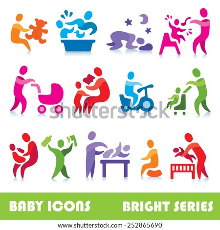 Baby vector icons, bright series - stock vector
