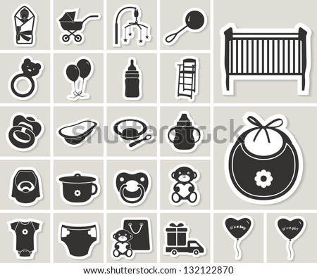 baby vector icons set. paper stickers - stock vector