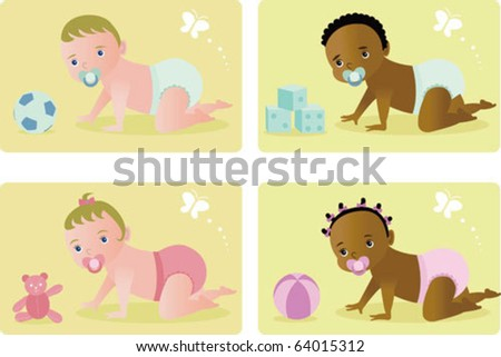 Baby  (Vectors) - 4 babies crawling and playing with toys on the floor - stock vector