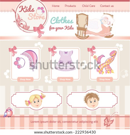 baby vintage template for web site - stock vector