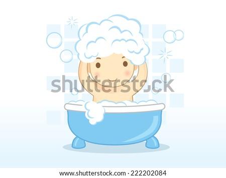 Baby washes hair with shampoo on bathtub in bathroom. - stock vector