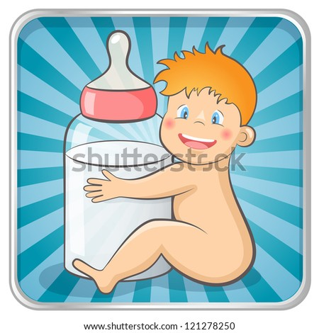 Baby with a baby bottle. EPS 10 vector illustration. - stock vector