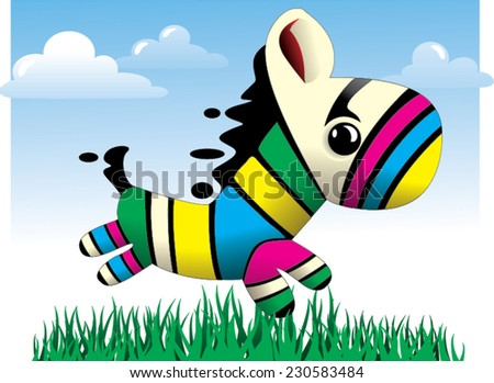 Baby Zebra Colorful vector illustration - stock vector