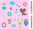 Babyish cute stickers set - stock vector