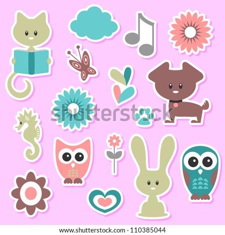 Babyish cute stickers set - stock vector