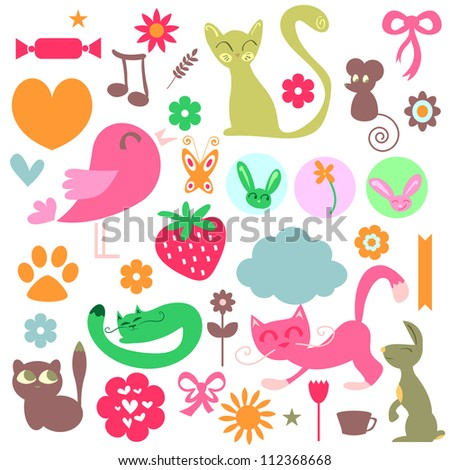 Babyish elements cute animals and objects set - stock vector