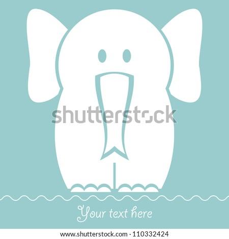 Babyish vector card with cute elephant - stock vector