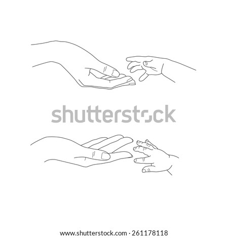 Babys hand reaching up to its mothers palms vector image
