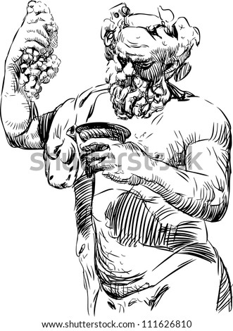 Bacchus with a bowl - stock vector