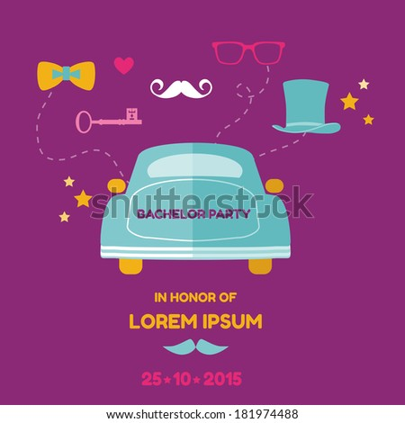 Bachelor Party Card - Wedding Invitation Card - with place for your text - in vector - stock vector