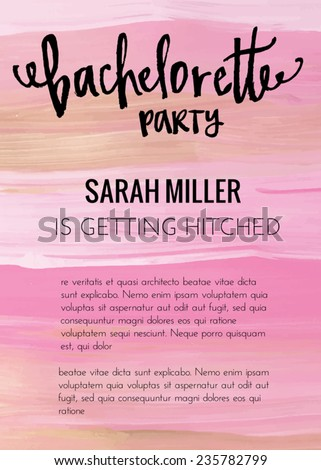 Bachelorette party invitation template vector bachelorette stock bachelorette party invitation template vector bachelorette party template with pink gold and black painted background stopboris Gallery