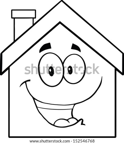 Back And White Happy House Cartoon Mascot Character - stock vector