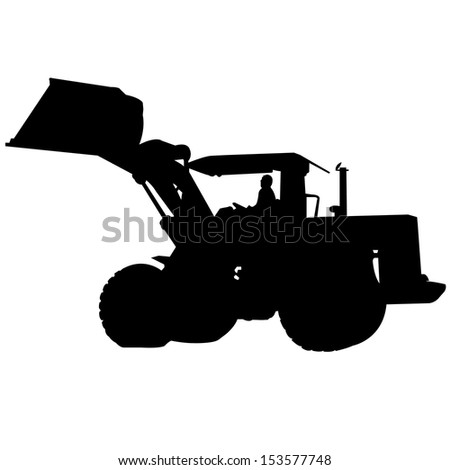Back Hoe Silhouette Vector - stock vector