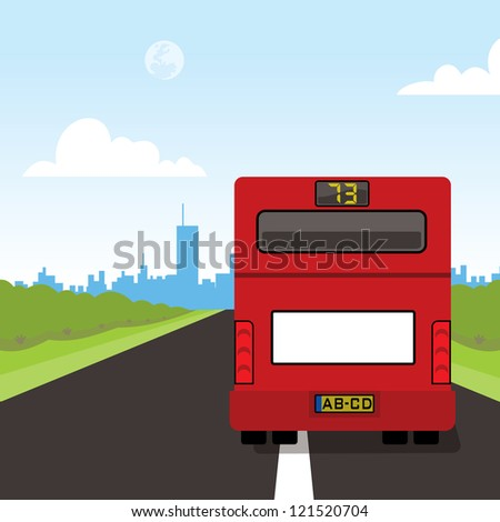 back of a red bus with blank billboard - stock vector