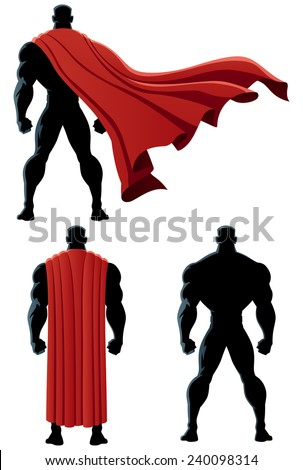 Back of superhero over white background and in 3 versions. No transparency used. Basic (linear) gradients.  - stock vector