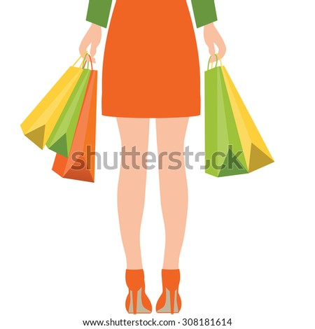 Back of woman holding shopping bags,Flat design vector illustration. - stock vector
