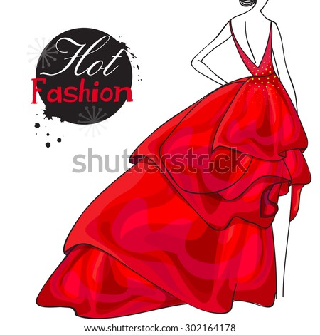 Back pose of a young slim girl in beautiful red gown for Hot Fashion collection on white background. - stock vector