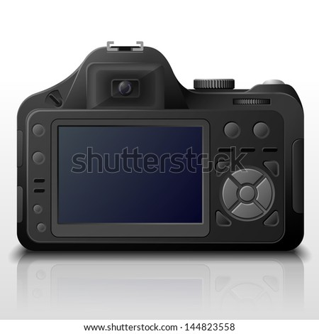 Back side of modern digital camera. Lcd screen of DSLR photo camera with control buttons. Qualitative vector image about photo, camera, digital photography, multimedia, photography equipment, etc. - stock vector