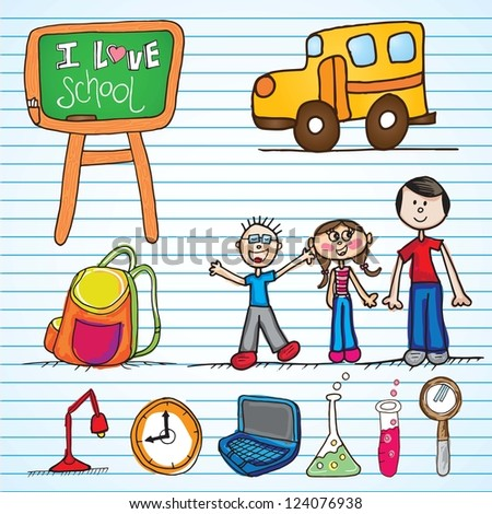 Back ti school colorful icons. Vector illustration - stock vector