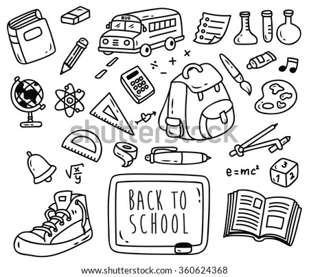 Back ti school themed doodle isolated on white background - stock vector