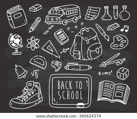 Back ti school themed doodle on black board - stock vector