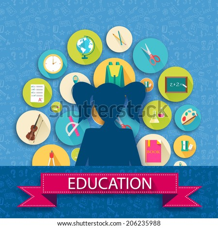 back to school abstract background of flat icons girl concept. Vector illustration design - stock vector