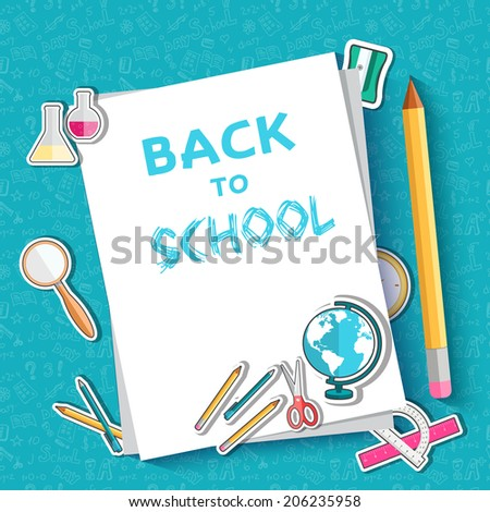 back to school abstract background of flat icons sticker concept. Vector illustration design - stock vector
