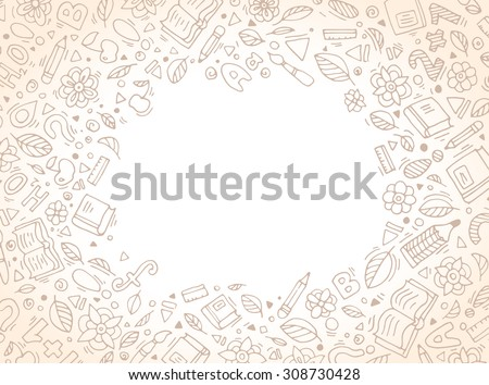 Back to school abstract background. Vector illustration. Set collection. Creative education concept for cards, tickets, branding, logo, label. Kids, children drawing. Web and mobile interface template - stock vector
