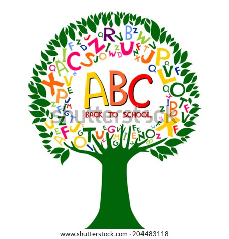Back to school. Abstract background with colorful letters.  Vector illustration.  - stock vector
