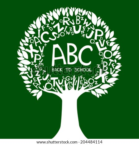 Back to school background. Abstract tree with White letters isolated on green background. Vector illustration  - stock vector
