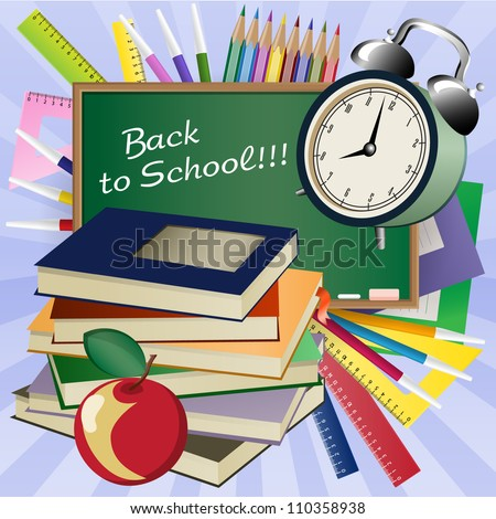 Back to school background. Blackboard, alarm clock, books, writing-books, apple, pencils, rulers. Grouped for easy editing. - stock vector