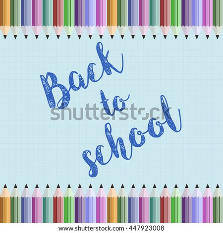 Back to school background. Color pencils vector illustration. Colorful crayons design element on notebook backround - stock vector