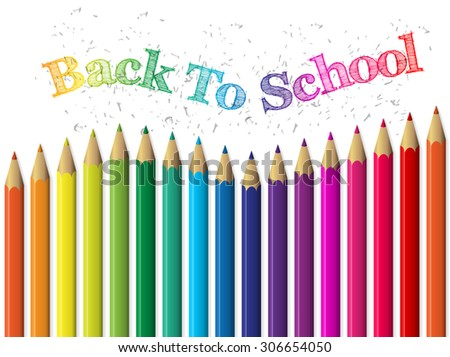 Back to school background design with colorful pencils and text