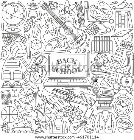 Back to school background made of line icons. Vector illustration.