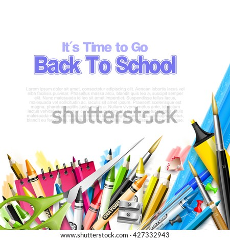 Back to School background - school supplies on white background