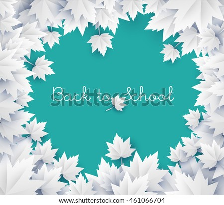 Back to school background - vector green chalkboard with paper leaves