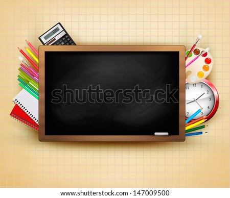 Back to school. Background with blackboard and school supplies. Vector.