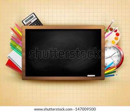 Back to school. Background with blackboard and school supplies. Vector.  - stock vector