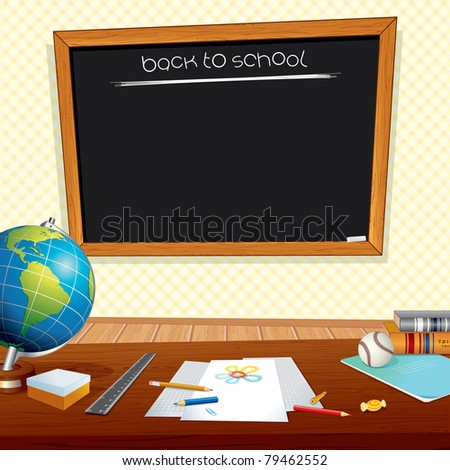 Back to School Background with Classroom Desk, Chalkboard and Education Symbols - stock vector