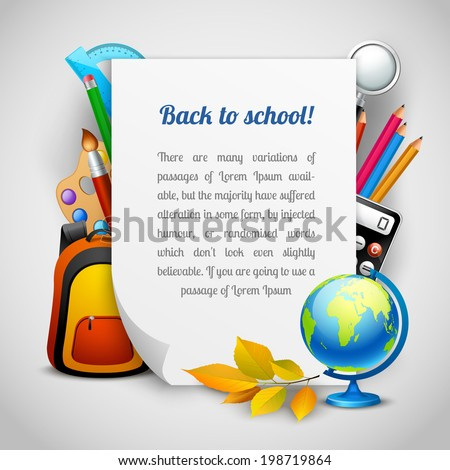Back to school background with education elements and paper sheet vector illustration - stock vector