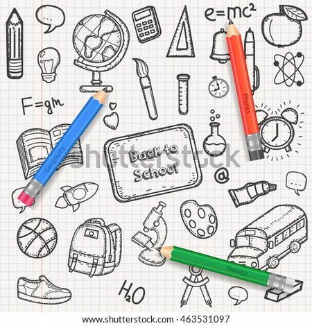 Back to School background, with hand drawn doodle elements and realistic pencil. Vector illustration