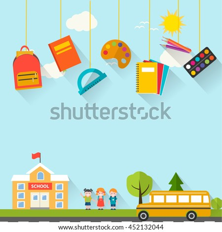 Back to school background with hanging supplies set, children, school building and bus, vector illustration. Can be used for web banner, backdrop,  ad, promotion. Layout template - stock vector
