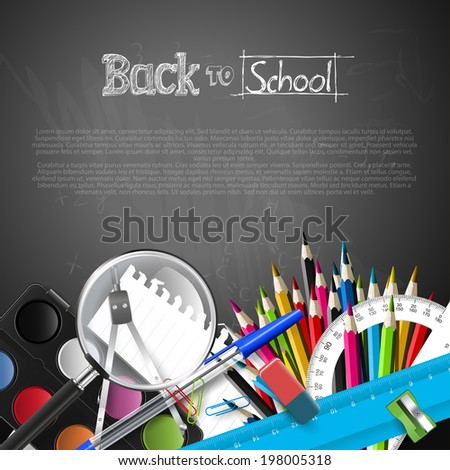 Back to school background with school supplies and copyspace