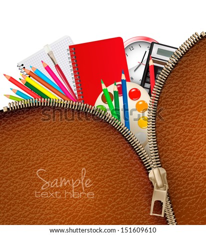 Back to school. Background with school supplies and zipper. Vector. - stock vector