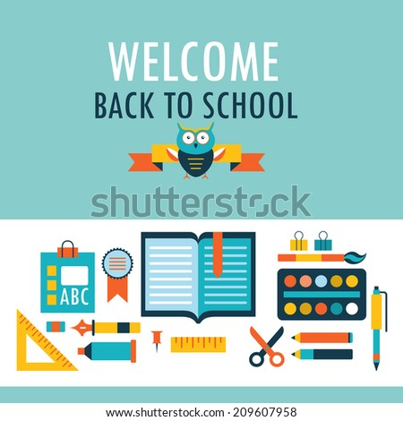 Back to school background with study theme icons. Vector illustration - stock vector