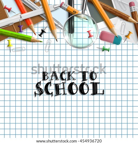 Back school background supplies template poster stock vector back to school background with supplies template poster invitation advertising sale season stopboris Gallery