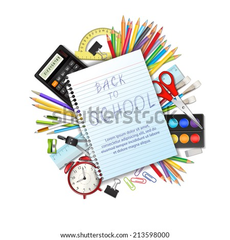 Back to school background with supplies tool, a sheet of notebook and space for text