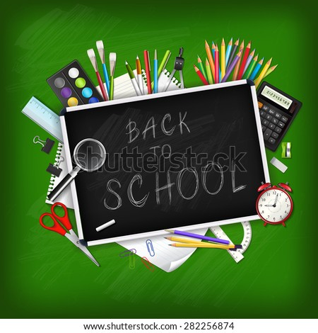 Back to school background with supplies tools and chalk-board. Place for your text. Chalky lettering. Layered realistic vector illustration.
