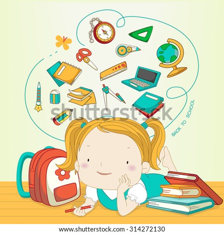 back to school banner with lovely girl  - stock vector