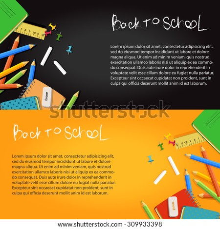 back to school banners on black and yellow background with school equipment